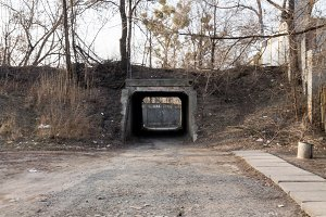 Arch is underground. Tunnel. Autumn. Trees. Clouse up.