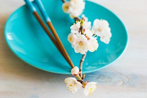 Spring table setting with bloom