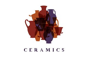 Greek traditional terracota vases ceramics promo poster card, vector