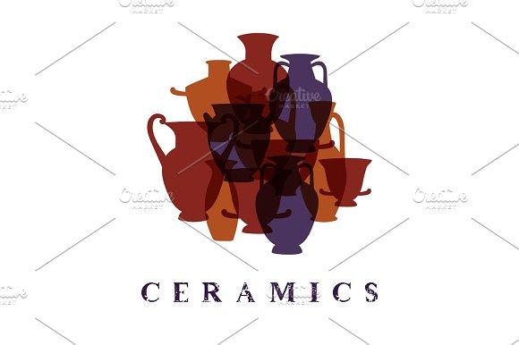 Greek Traditional Terracota Vases Ceramics Promo Poster Card Vector