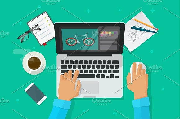 Designer Working On Laptop Vector