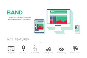 Band - Semantic-UI HTML Template