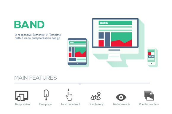 Band semantic ui html template website templates creative market band semantic ui html template websites pronofoot35fo Gallery