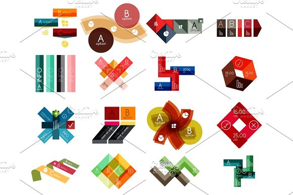 Collection Of Colorful Line And Stripe Infographic Diagram Designs Business Or Web Banner Templates