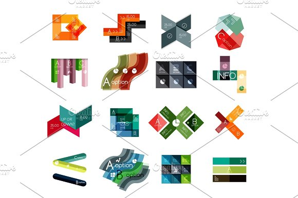 Set Of Abstract Geometrical Infographic Diagram Presentation Elements