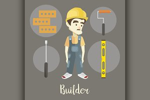 Builder on a dark background