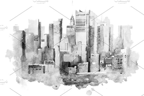 Watercolor Drawing Of New York Cityscape USA Manhattan Aquarelle Painting