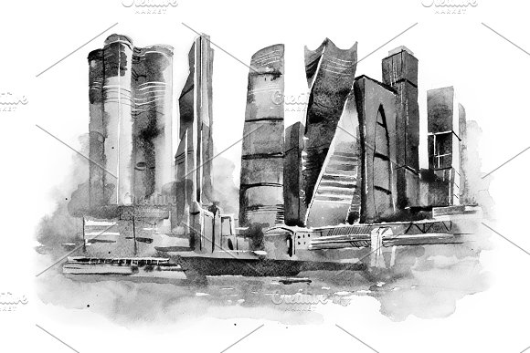 Watercolor Drawing Of Moscow City International Business Center Aquarelle Painting