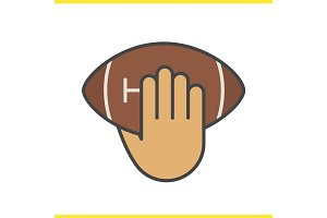 Hand throwing american football ball color icon