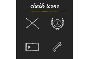 Billiard championship chalk icons set