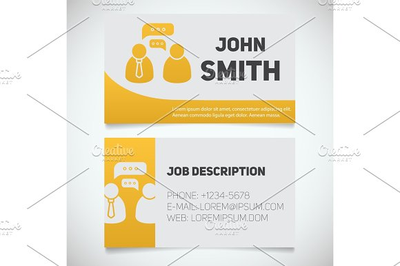 Business Card Print Template With Interview Logo