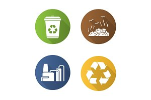 Waste management. Flat design long shadow icons set
