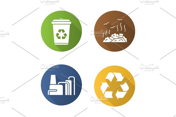 Waste Management Flat Design Long Shadow Icons Set