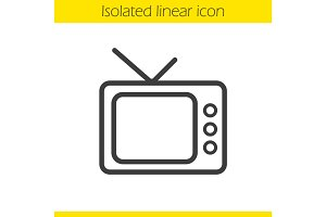 Retro TV set linear icon