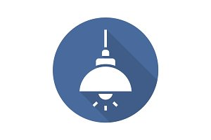 Ceiling lamp flat design long shadow icon