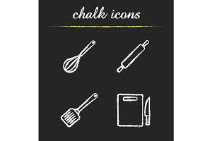 Kitchen tools chalk icons set