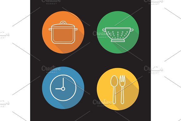 Mealtime Flat Linear Long Shadow Icons Set