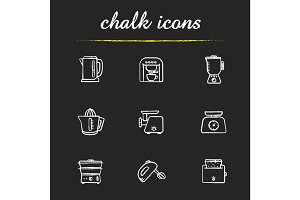 Kitchen electronics chalk icons set
