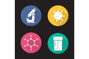 Science laboratory flat design long shadow icons set