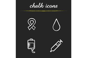 Blood donation chalk icons set