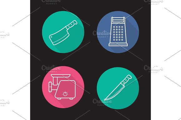 Kitchen Equipment Flat Linear Long Shadow Icons Set