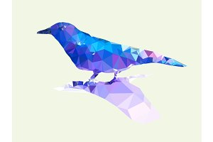 Low polygonal of blue bird