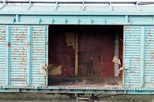 Wagon with open doors.