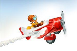 Funny airplane, 3d vector cartoon