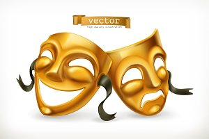 Gold theatrical masks. 3d vector