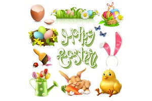 Happy Easter vector icon set