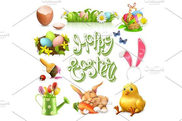 Happy Easter Vector Icon Set