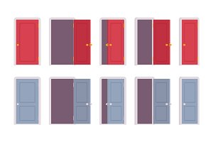 Set of doors in different positions