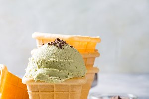 Waffle cups with pistachio ice cream