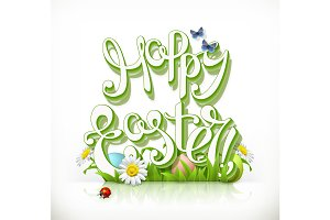Happy Easter lettering, vector