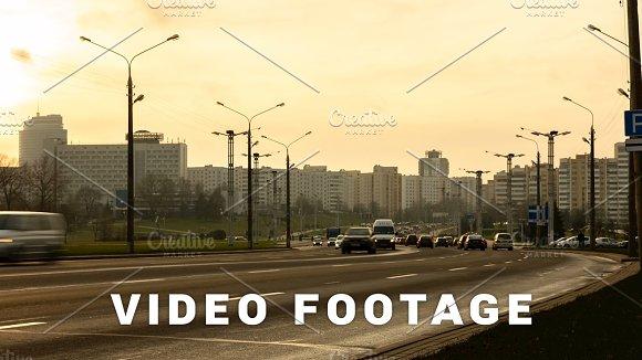 Sunset Traffic In The City Timelapse Shot