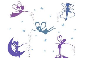 Cartoon Fairies Silhouette