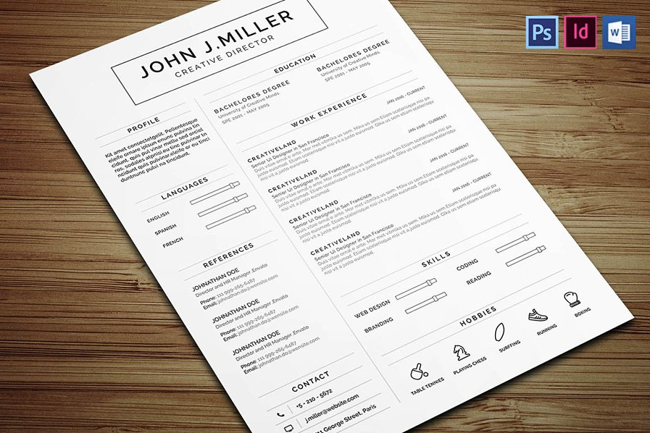 Clean Resume Templates Creative Market