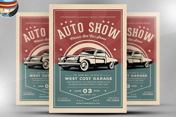 old classic car show flyer template flyer templates on creative market. Black Bedroom Furniture Sets. Home Design Ideas