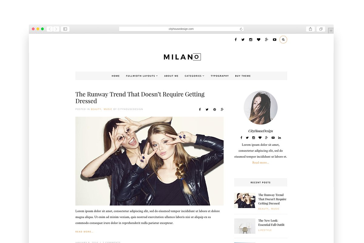 bd4c4e31af1c80 Milano - Wordpress blog theme ~ WordPress Blog Themes ~ Creative Market