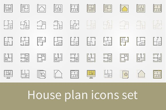 House Plan Icons Set