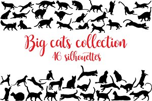 Cats collection of silhouettes