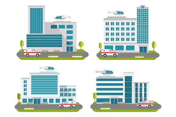 A Set Of Hospitals In Flat Style