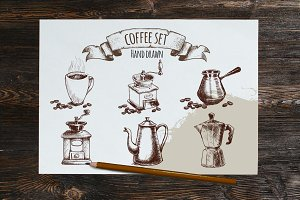 Coffee set sketches