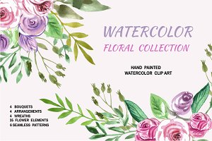 Watercolor floral collection