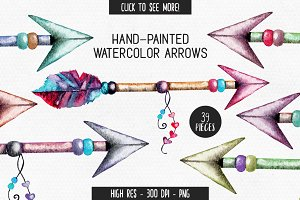Watercolor Tribal Arrow Graphics