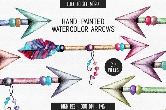 Watercolor Tribal Arrow Graphics