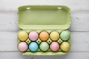 Carton package with colorful easter eggs