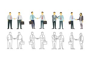 Two men shake each other hands. Business style. Flat graphics for your design. Contour linear variant