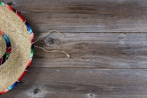 Large Sombrero on rustic wood