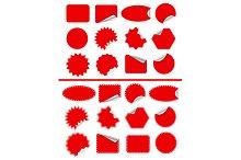 Sticker label set. Red sticky isolat